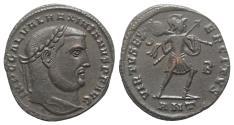 Ancient Coins - Galerius (Caesar, 293-305). Æ Follis. Antioch, 308-9. R/ Virtus
