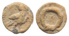 Ancient Coins - Roman PB Tessera, c. 1st century BC - 1st century AD. Eagle R/ Wreath