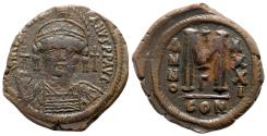 Ancient Coins - Justinian I (527-565). Æ 40 Nummi - Constantinople, year 31 (557/8)