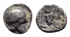 Ancient Coins - Asia Minor, Uncertain (perhaps Neandria in Troas?), c. 450 BC. AR Hemiobol - Helmet / Amphora - RARE