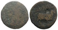 Ancient Coins - Augustus (27 BC-AD 14). Spain, Calagurris. Æ As. Mn. Memmius and L. Iunius, duoviri.  R/BULL