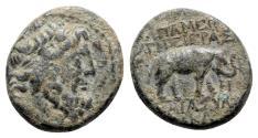 Ancient Coins - Seleukis and Pieria, Apameia on the Axios, 1st century BC. Æ - Zeus / Elephant