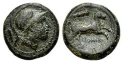 Ancient Coins - ROME REPUBLIC Club series, Rome, c. 230-226 BC. Æ 14mm. Helmeted head of Mars R/ Horse