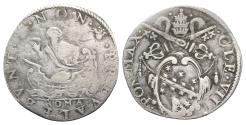 World Coins - Papal States, Rome, POPE Clemente VIII (1592-1605). AR Testone. Arms. R/ St. Peter.