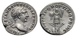 Ancient Coins - Trajan (98-117). AR Denarius. Rome, c. 107-8. R/ TROPHY ETREMELY FINE