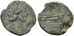 Ancient Coins - ROME REPUBLIC PT or TP series, Rome, 169-158 BC. Æ As Head of Janus. R/ Prow ; PT or TP monogram above