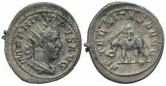 Ancient Coins - Philip I (244-249). AR Antoninianus. Rome, AD 249.  R/ Elephant advancing, guided by mahout