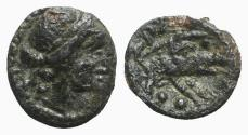 Ancient Coins - Northern Lucania, Paestum, c. 218-201 BC. Æ Sextans - Ceres / Boar