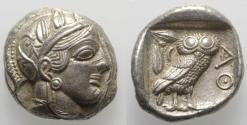 Ancient Coins - Attica, Athens, AR Tetradrachm, ca. 454-404 BC. R/ OWL EXTREMELY FINE