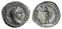 Ancient Coins - Caracalla. AD 198-217. AR Denarius. Rome mint. Struck AD 216. R/ SOL