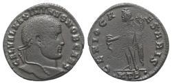 Ancient Coins - Maximinus II (Caesar, 305-309). Æ Follis. Heraclea, AD 308.  R/ GENIUS