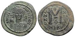 Ancient Coins - Justinian I (527-565). Æ 40 Nummi - Nicomedia, year 14