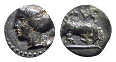 Ancient Coins - Ionia, Phygela, c. 350-300 BC. Æ - Artemis Munychia / Bull