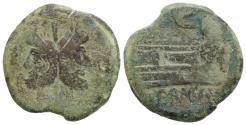 Ancient Coins - ROME PEBUBKIC. Crescent series(?), c. 207 BC. Æ As. VERY RARE