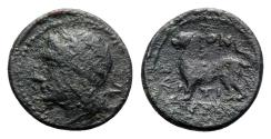 Ancient Coins - Sicily, Leontini, c. 210-200 BC. Æ 14mm. Laureate head of Apollo  R/ LION