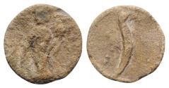 Ancient Coins - Roman PB Tessera, c. 1st century BC - 1st century AD. Fortuna / Needle