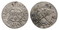 World Coins - Livonia, Riga. Thomas Schoning (1528-1539). BI Schilling. Arms. R/ Crossed cross and sceptre