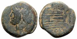 Ancient Coins - ROME REPUBLIC Star series, Rome, 169-158 BC. Æ As Head of Janus. R/ Prow of galley, star above