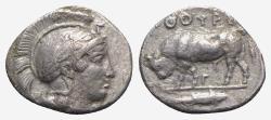 Ancient Coins - ITALY. Southern Lucania, Thourioi, c. 443-400 BC. AR Triobol
