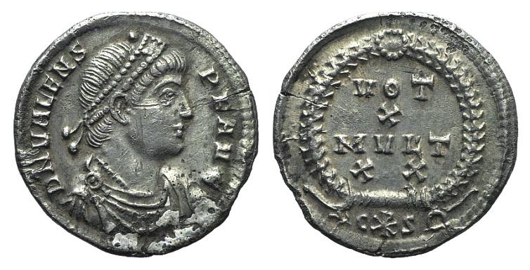 Ancient Coins - Valens (364-378). AR Siliqua. Constantinople mint. Struck 367-375 AD.  VOT/X/MVLT/XX