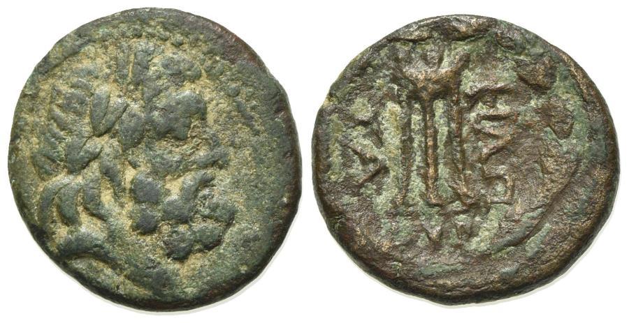 Ancient Coins - Illyria, Dyrrachion, c. 2nd-1st century BC. Æ 18mm. R/ Tripod