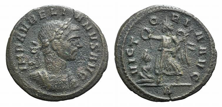 Ancient Coins - Aurelian (270-275). AE Denarius. Rome, 275.  R/ Victory