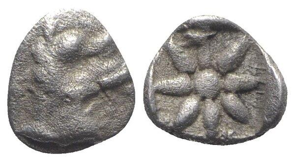 Ancient Coins - Caria, Kindya, c. 510-480 BC. AR Hemiobol. Head of ketos R/ Star within incuse square. EXTREMELY RARE