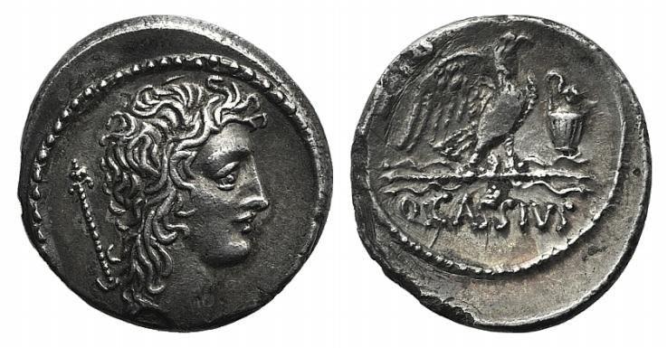 Ancient Coins - Rome Republic Q. Cassius Longinus, Rome, 55 BC. AR Denarius