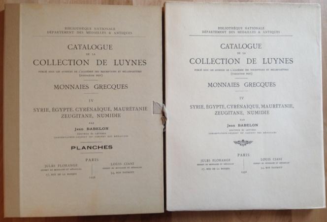 Ancient Coins - Babelon Jean - Catalogue de la Collection De Luynes Monnaies Grecques IV (Syrie, Egypte, Cyrenaique, Mauretanie, Zeugitane, Numidie)