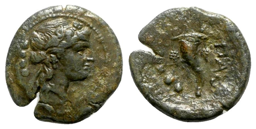 Ancient Coins - Northern Lucania, Paestum, after 211 BC. Æ Triens - Dionysos / Cornucopiae