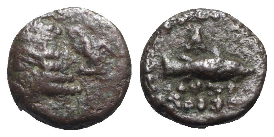 Ancient Coins - Kings of Parthia, Orodes II (58/7-38 BC). Æ Chalkous. Ekbatana.  R/ Vertical club.
