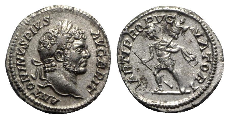 Ancient Coins - Caracalla (198-217). AR Denarius - Rome - R/ Mars