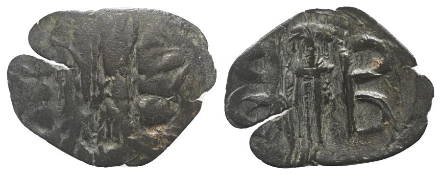 Ancient Coins - Andronicus II Palaeologus (1282-1328). Æ Trachy. Thessalonica. Large six-pointed petal star. R/ Andronicus standing facing
