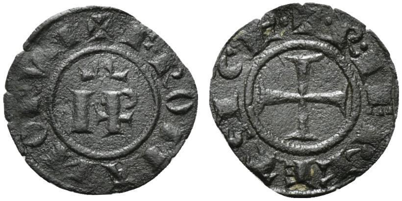 World Coins - Italy, Sicily, Messina. Federico II (1197-1250). BI Denaro, AD 1246. IP. R/ Cross