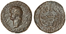 Ancient Coins - Nero (AD 54-68), AE Sestertius, Rome, 64. R/ PORT OF OSTIA