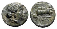Ancient Coins - Ionia, Smyrna, c. 190-170 BC. Æ - Menodoros, magistrate - Apollo / Hands in caestus
