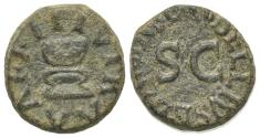Ancient Coins - Augustus (27 BC-AD 14). Æ Quadrans. Rome. C. Rubellius Blandus, moneyer, 9 BC. Garlanded altar. R/ Large S C