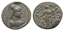 Ancient Coins - Lydia, Tripolis. Pseudo-autonomous, time of Severus Alexander (222-235). Æ - Athena / Tyche
