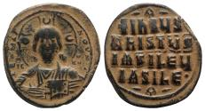 Ancient Coins - Anonymous, time of Basil II and Constantine VIII, c. 1020-1028. Æ 40 Nummi. Uncertain (Thessalonica?) mint. Facing bust of Christ Pantokrator.