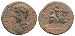 Ancient Coins - Gallienus (253-268). Caria, Aphrodisias. Æ - R/ Emperor on horseback