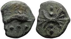 Ancient Coins - Roman Republic - Anonymous, Rome, c. 280 BC. Æ Cast Triens - Thunderbolt / Dolphin