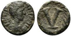Ancient Coins - Justinian I (527-565). Æ 5 Nummi. Imitative (Sicilian?) mint, 538-565. R/ Large V