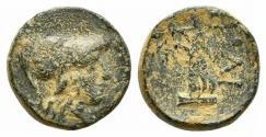 Ancient Coins - Troas, Ilion, c. 159-119 BC. Æ 12mm. R/ Athena Ilias