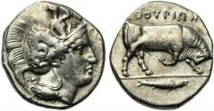 Ancient Coins - ITALY. Southern Lucania, Thourioi, c. 400-350 BC. AR Distater R/ BULL RARE