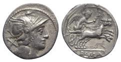 Ancient Coins - Roman Republic, Anonymous, Rome, c. 157/6 BC. AR Denarius - R/ Victory in biga
