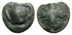 Ancient Coins - Sicily, Selinos, c. 450-440 BC. Cast Æ Onkia - Kantharos / Leaf