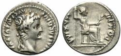 """Ancient Coins - Tiberius (14-37). AR Denarius. """"Tribute Penny"""" type, Lugdunum, 36-37. R/ Livia (as Pax)"""