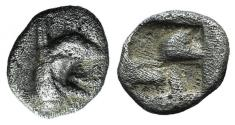 Ancient Coins - Ionia, Teos, late 6th-early 5th century BC. AR Tetartemorion. Head of griffin
