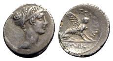 Ancient Coins - Roman Imperatorial, T. Carisius, Rome, 46 BC. AR Denarius
