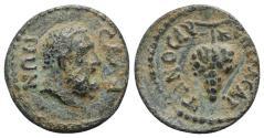 Ancient Coins - Lydia, Sala. Pseudo-autonomous issue. Time of Trajan (98-117). Æ 15.5mm. Meliton, archon. R/ Grape cluster